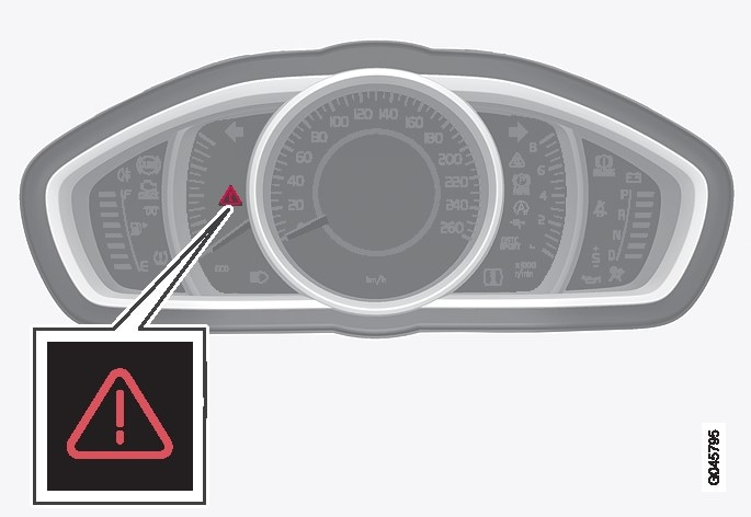 Warning triangle in the analogue combined instrument panel.