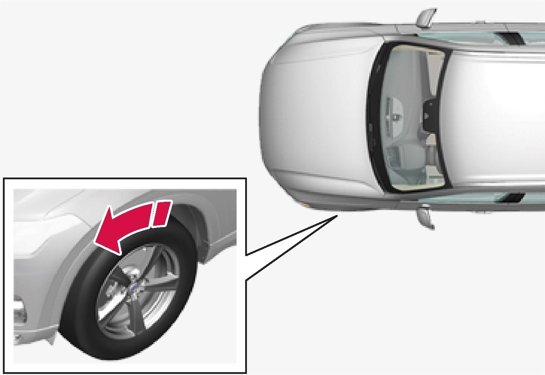 箭头方向为轮胎转动方向。
