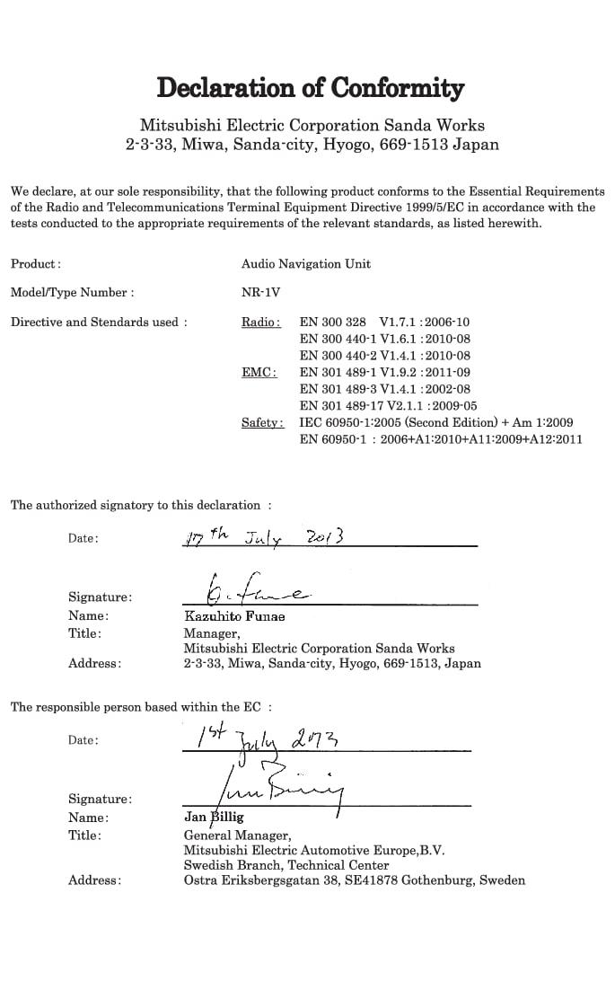 P3/P4-1420-Melco-Declaration of Conformity