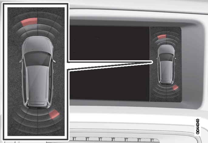 La videata sullo schermo visualizza gli ostacoli sui lati anteriore sinistro e posteriore destro.