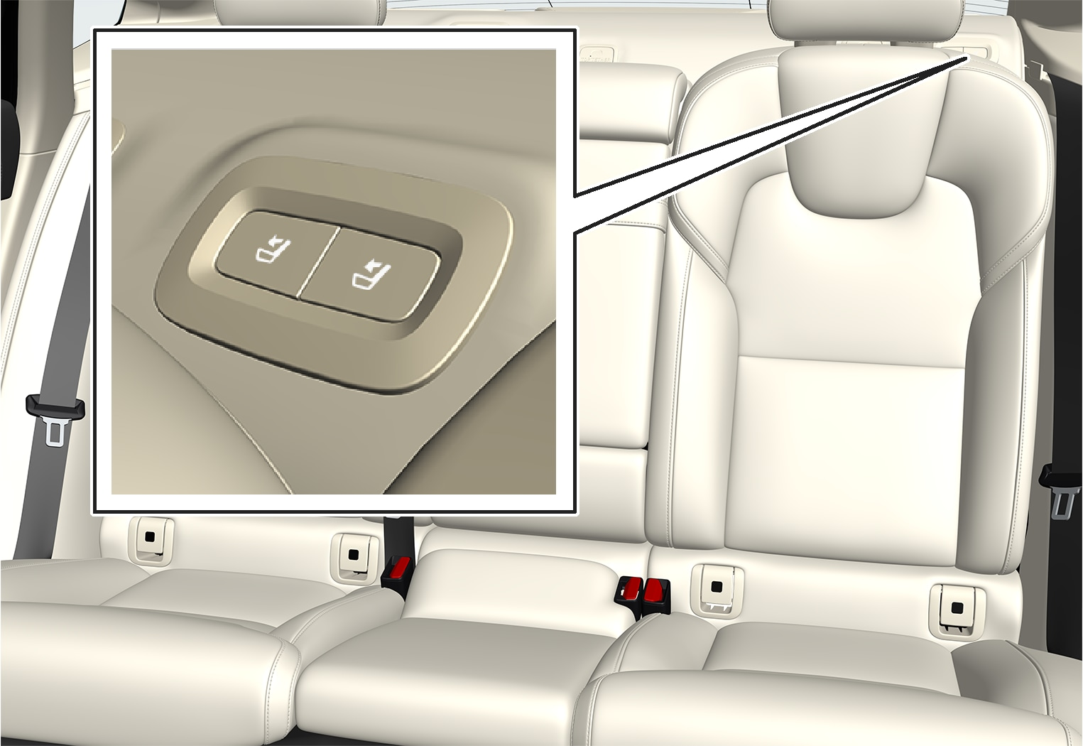 P5-1617-S90-Back seat- Buttons for folding seat