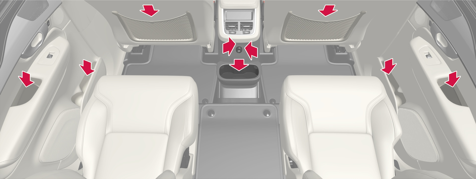 P5-2017–Interior–Overview second seat row and tunnel console - 6 seats car