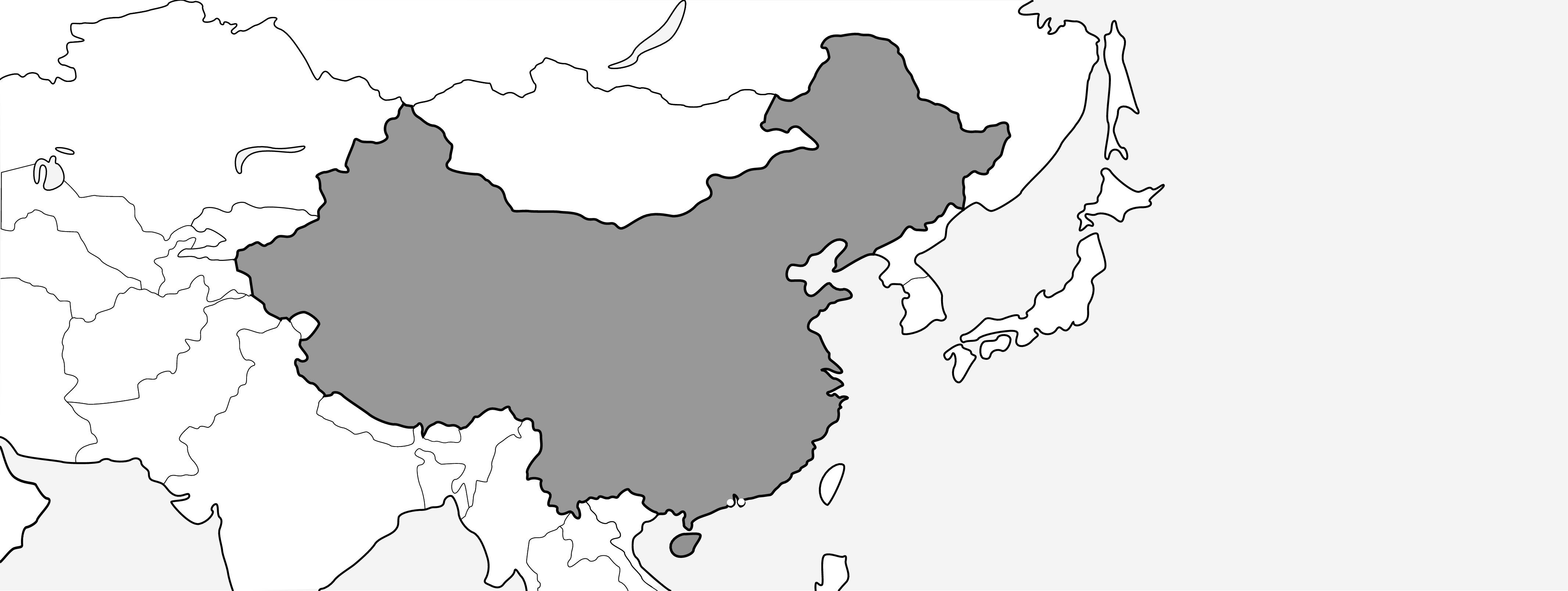 VOC可在标记为灰色的区域使用。VOC不可在香港或澳门地区使用。