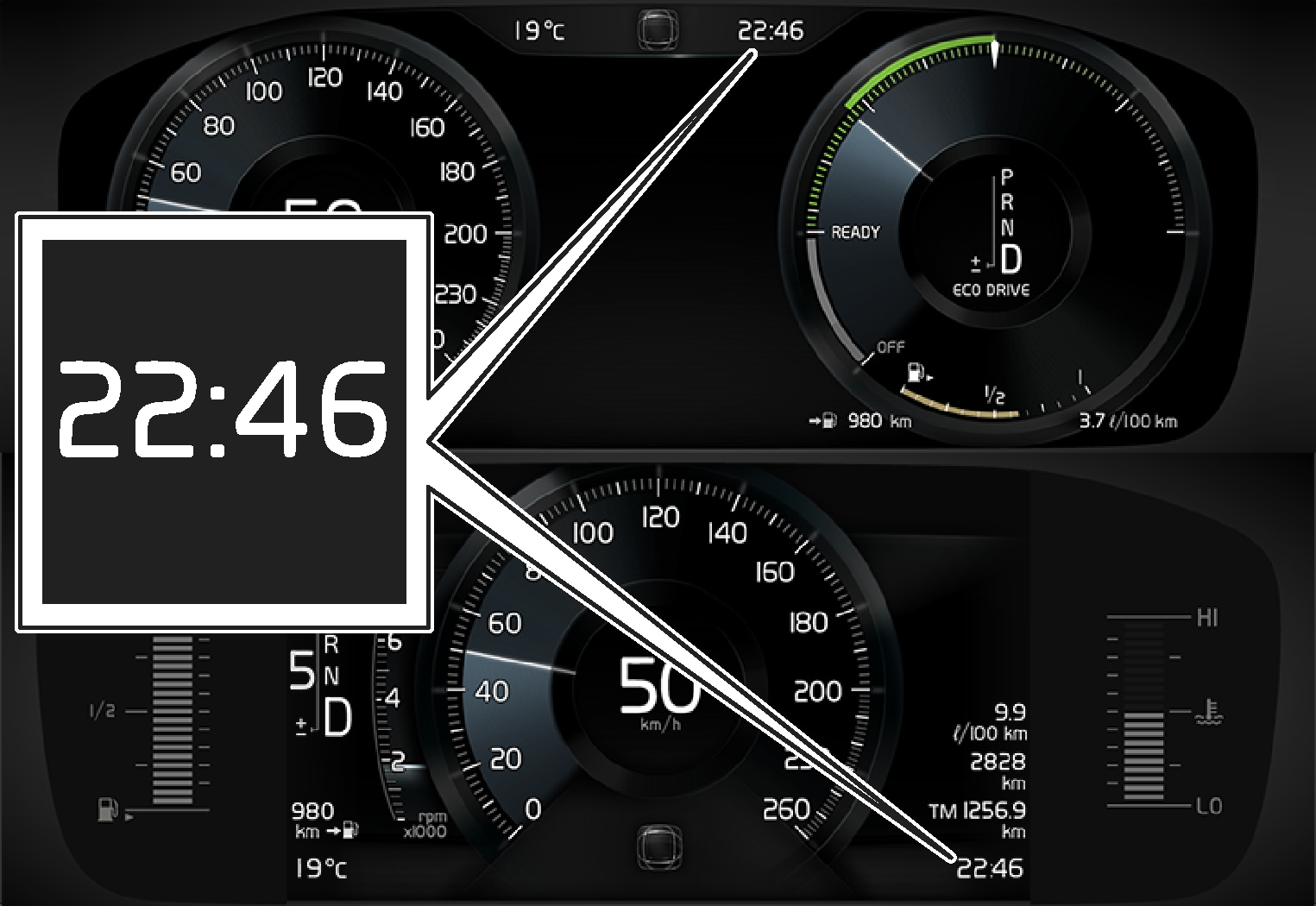 P5-15w46-Clock in driver display 8 inch and 12 inch