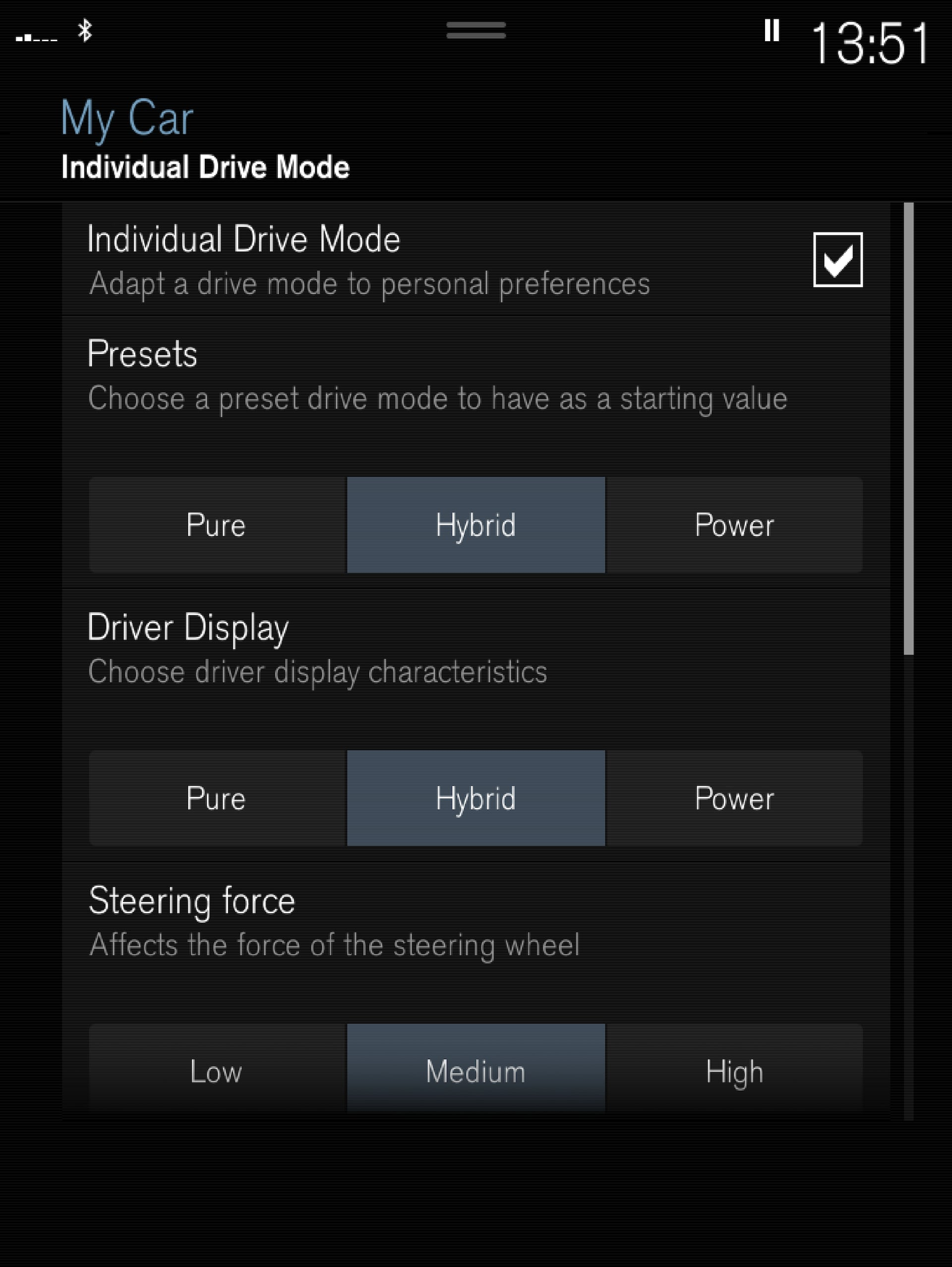 P5-1717-XC60H-Individual drive mode settings view