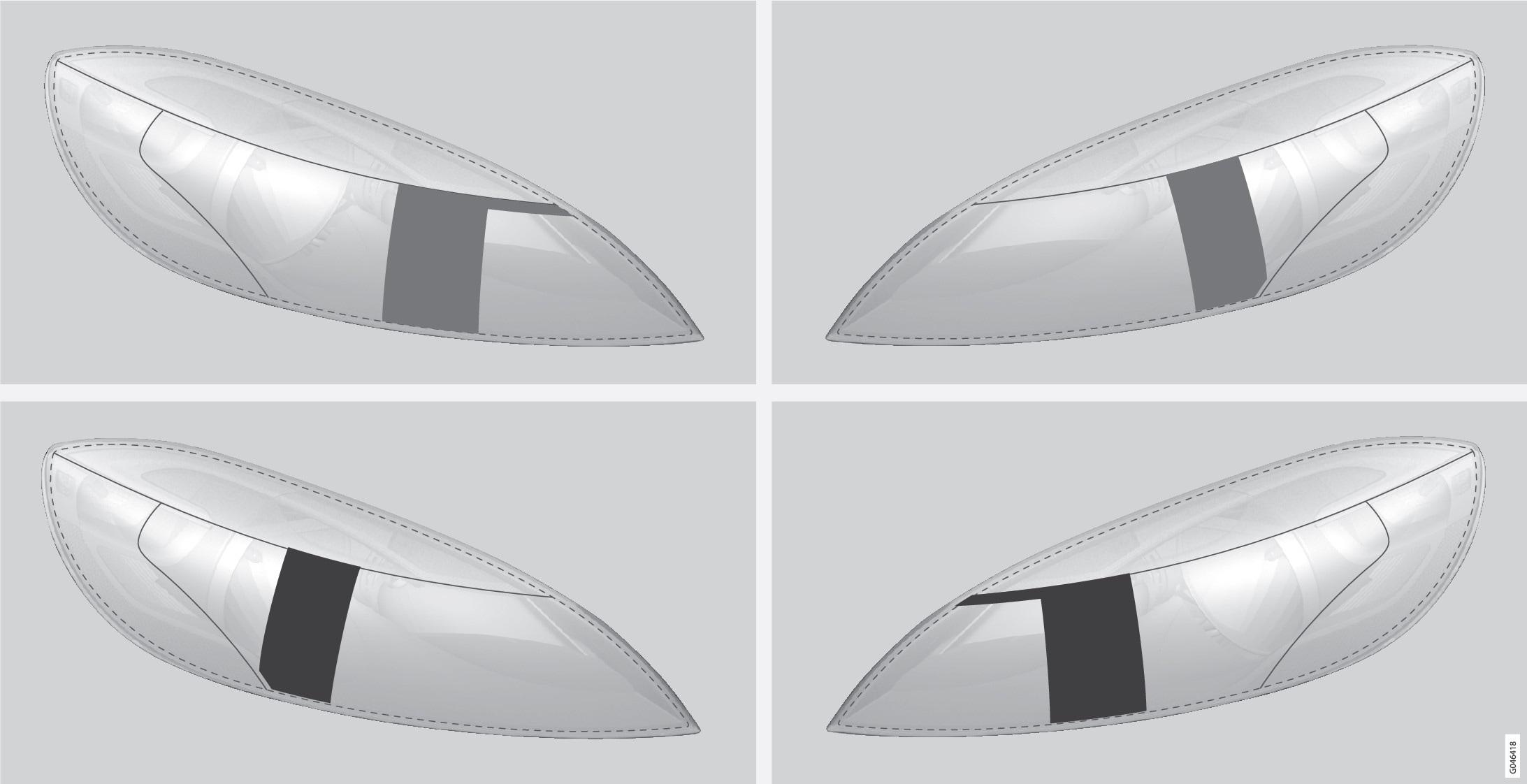 Riga superiore: automobile con guida a sinistra, sagome A e B. Riga inferiore: automobile con guida a destra, sagome C e D.