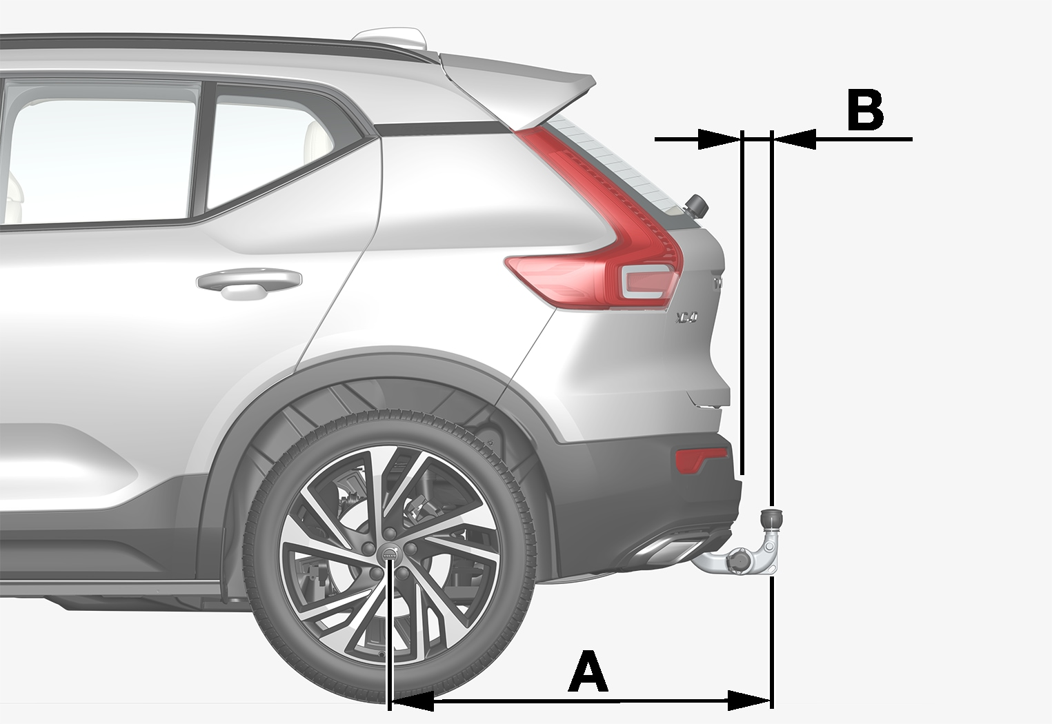 P6-1746-XC40-Tow bar specification side view