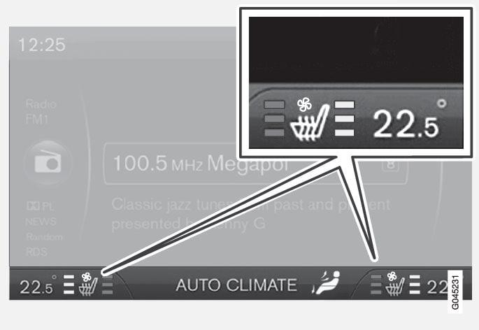 Die aktuelle Komfortstufe wird am Bildschirm der Mittelkonsole angezeigt.