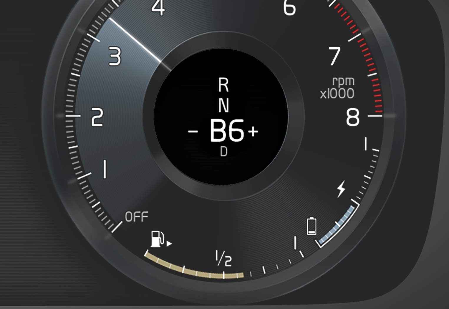 P6-1846-XC40H-Gear shift mode B in driver display