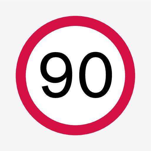 P5-1519-Road Sign Information, 90 km/h symbol