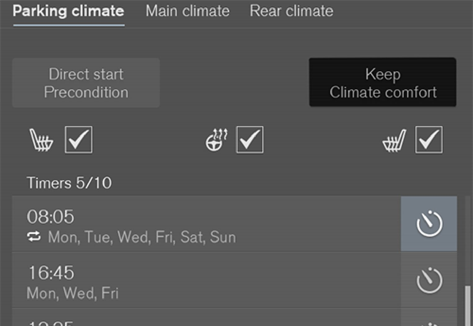 Button for climate comfort retention in the Parking climate  tab in the climate view.