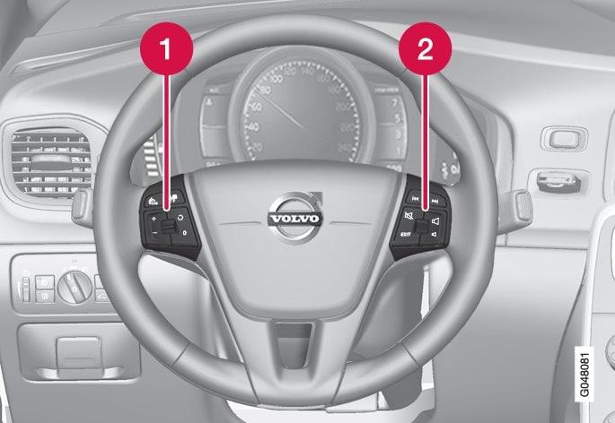 Keypads in the steering wheel.