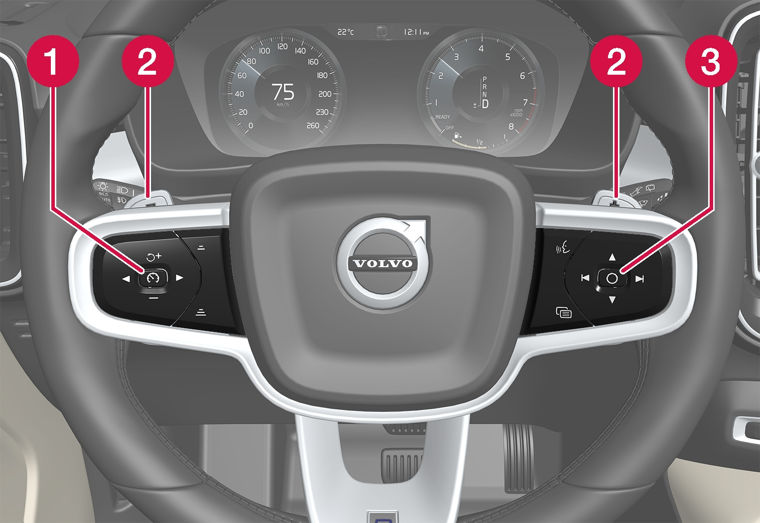 P6-XC40-Steering wheel with numbers