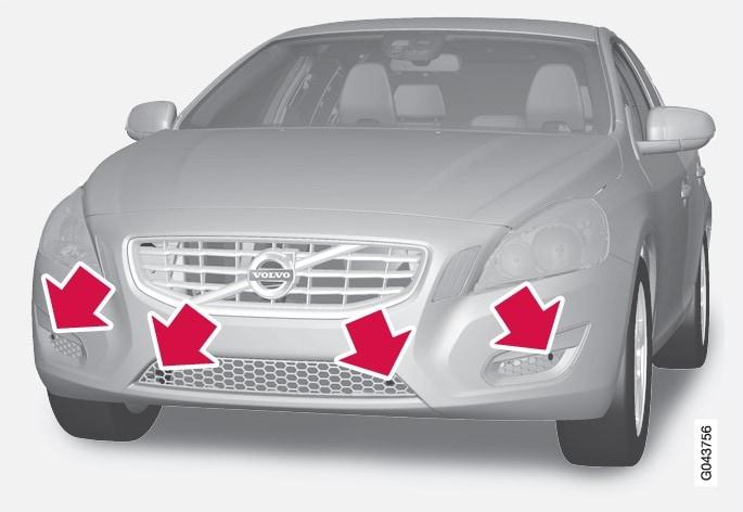 P3-1020-s60 Parkeringshjälp Sensorer fram