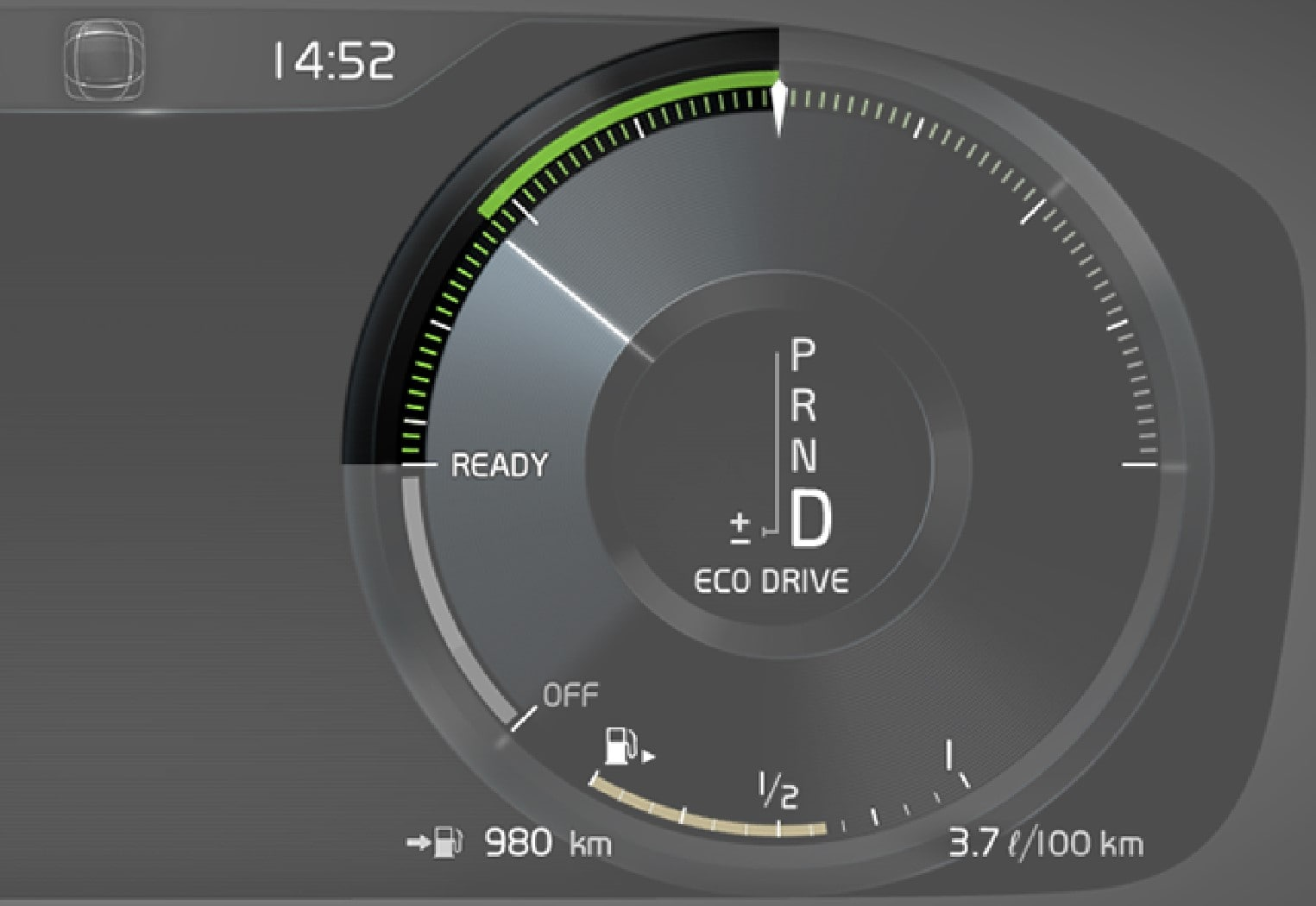 Eco gauge in the 12-inch driver display.