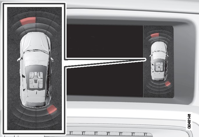 Display screen view - showing an obstacle left front and right rear.