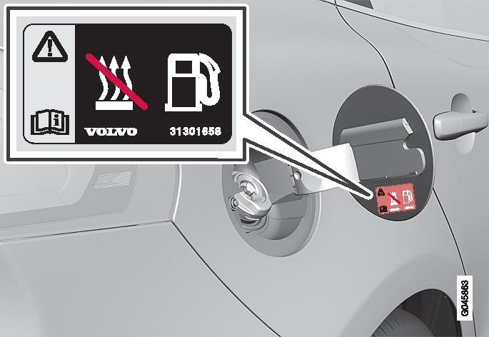 Warning label on fuel filler flap.