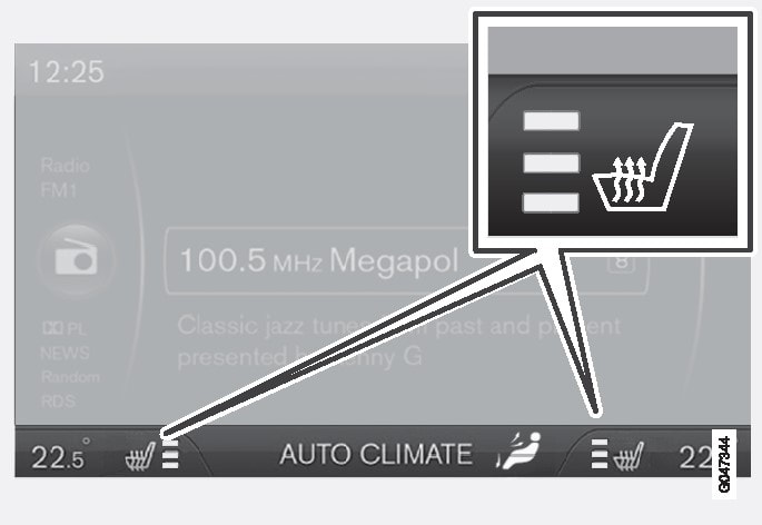 Current heat level is shown in the centre console display screen.