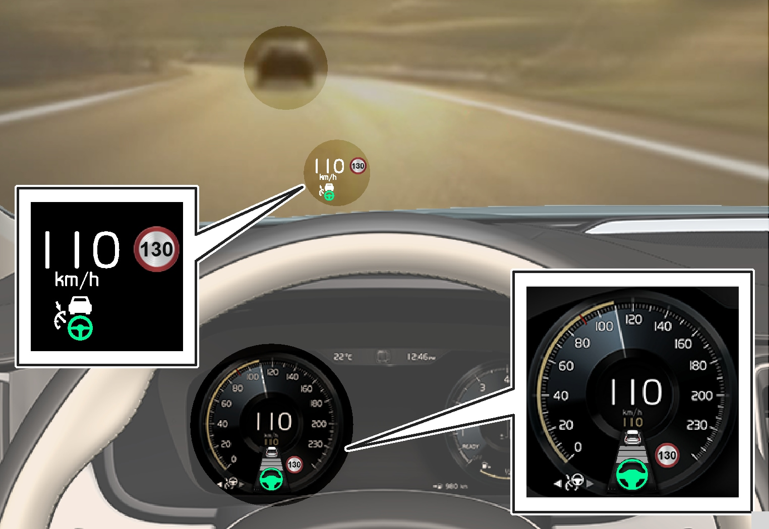 P5-V90/S90-1646-Pilot Assist, set to maintain 110 km/h, to follow a vehicle ahead and steering assistance