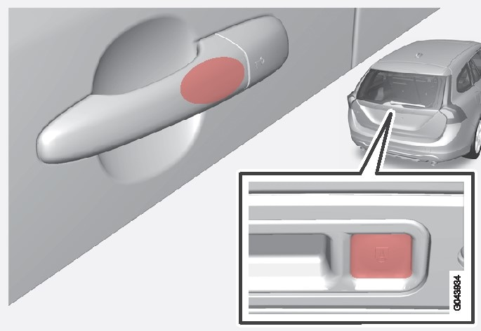 The touch-sensitive area on the outer door handles and the rubberised button next to the tailgate