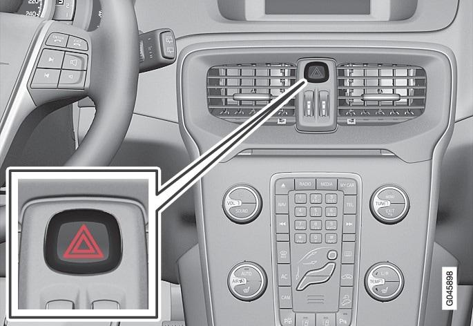 Button for hazard warning flashers.
