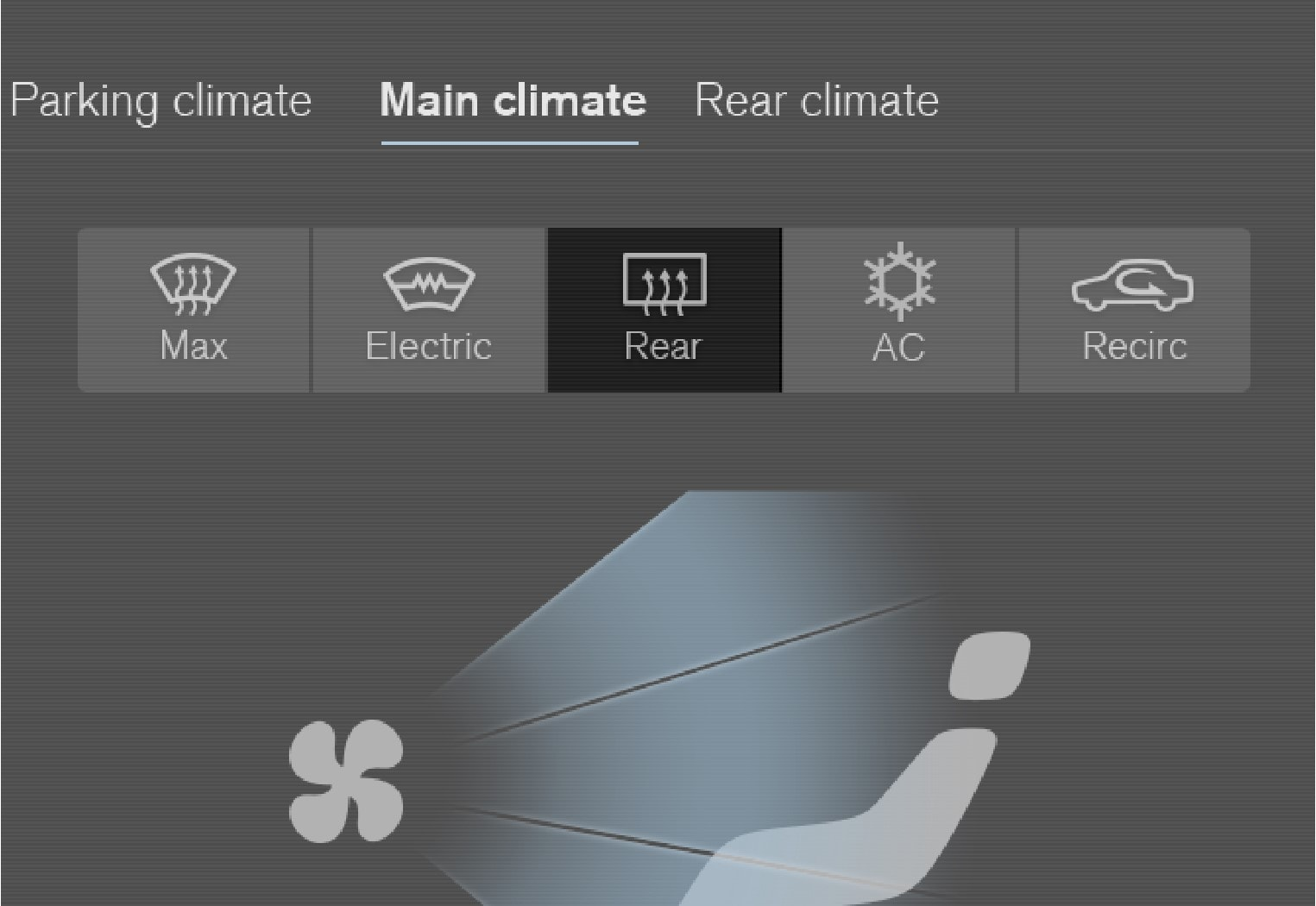 The button for heated rear window and door mirrors in the climate view.