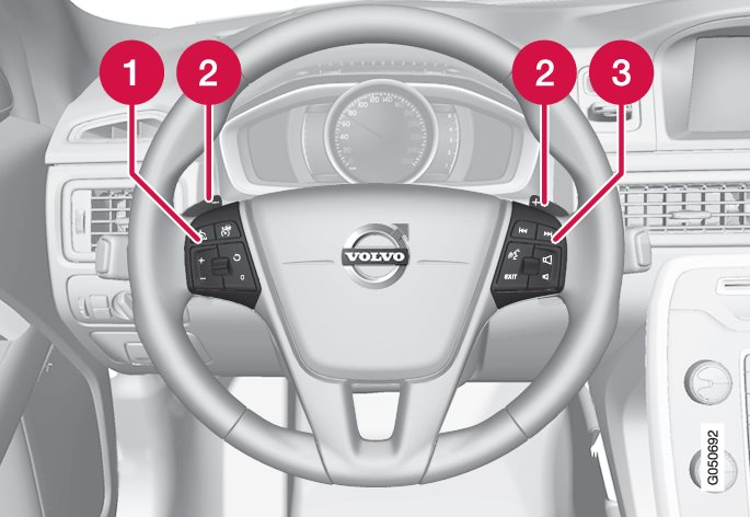 Keypads and paddles in the steering wheel.