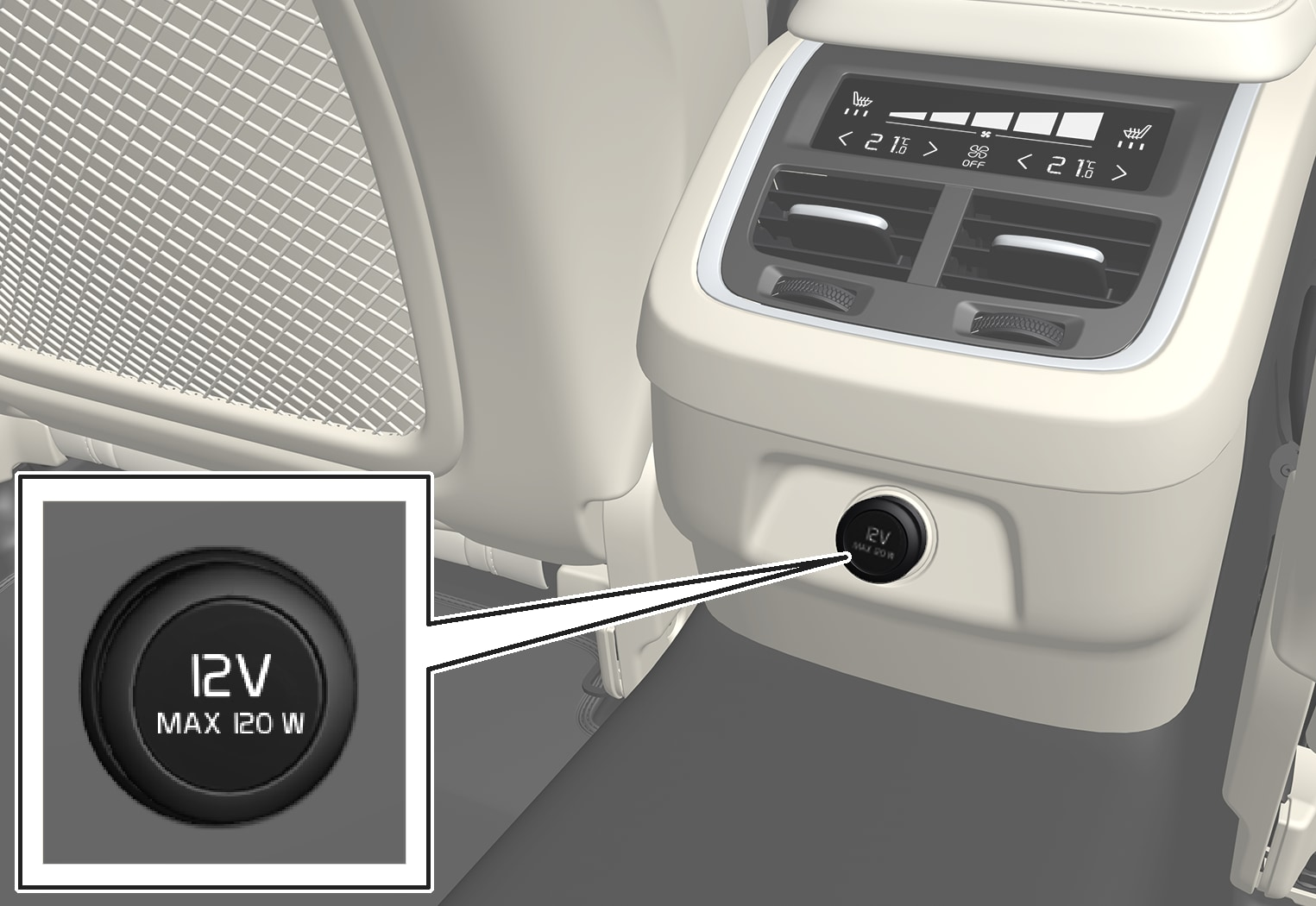 P5-1646–Interior–12 V outlet tunnel console S90/V90