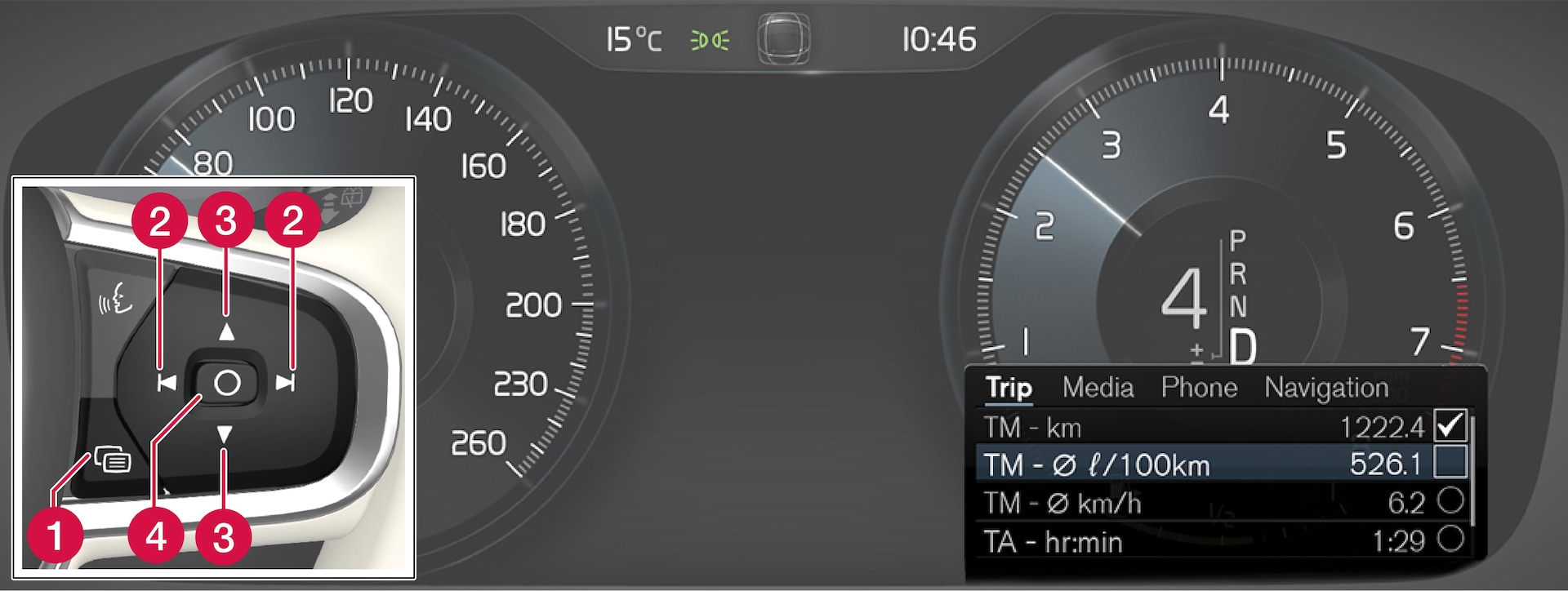 Open and navigate in the app menuThe appearance of the display may vary depending on instrument variant. using the right-hand steering wheel keypad.