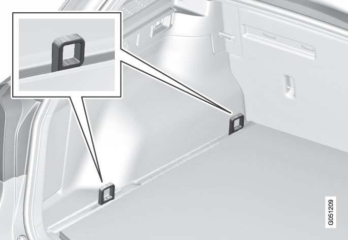 Attachment point locations in the cargo area (with fixed load retaining eyelets).