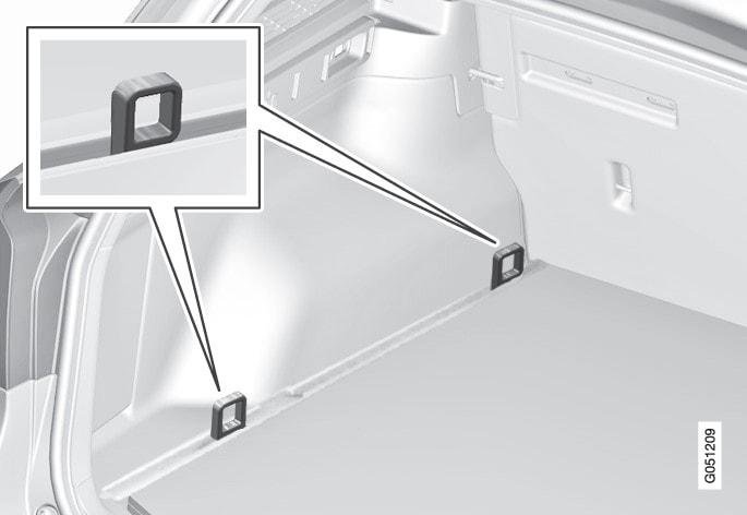 Befæstelsespunkternes placering i bagagerummet (med faste lastforankringsøjer).