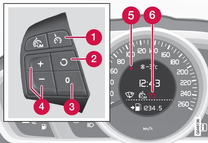 The steering wheel buttons and combined instrument panel in cars with speed limiter.