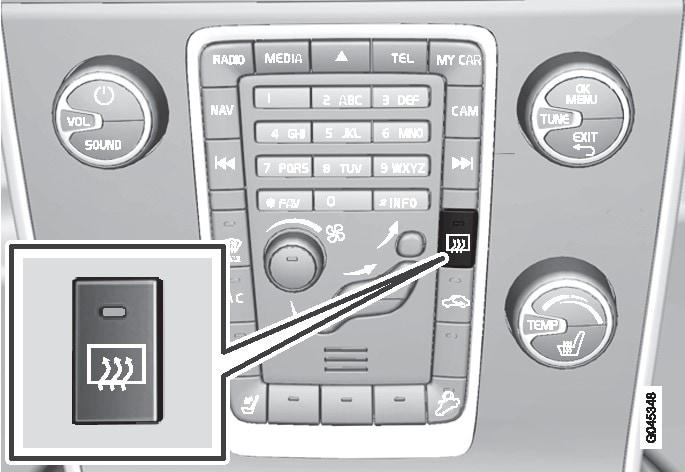 P3-V60H,V70, XC70, S80, S80L-Button rear window defroster