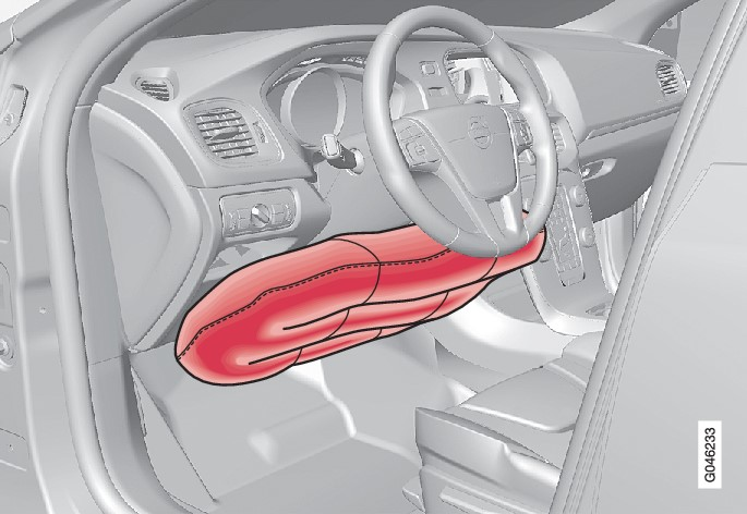 Knee airbag on the driver