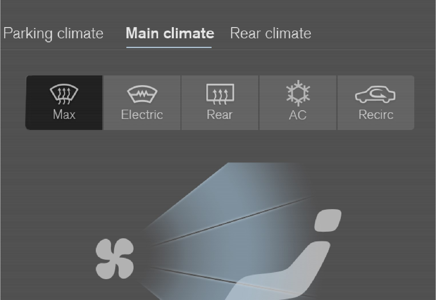 Max defroster button in the climate view.