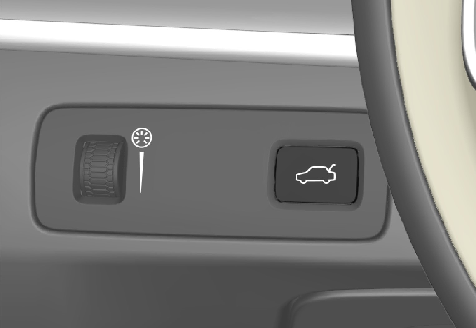 P5-1507 Unlock/open tailgate with button from inside (without fuel filler cap-button)