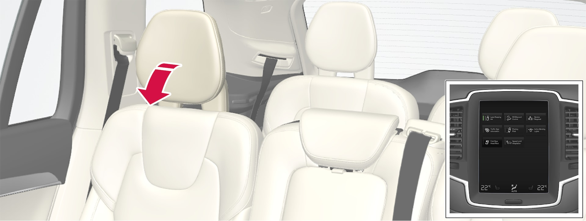 P5-1507-2nd seat row-Automatic folding down headrest back