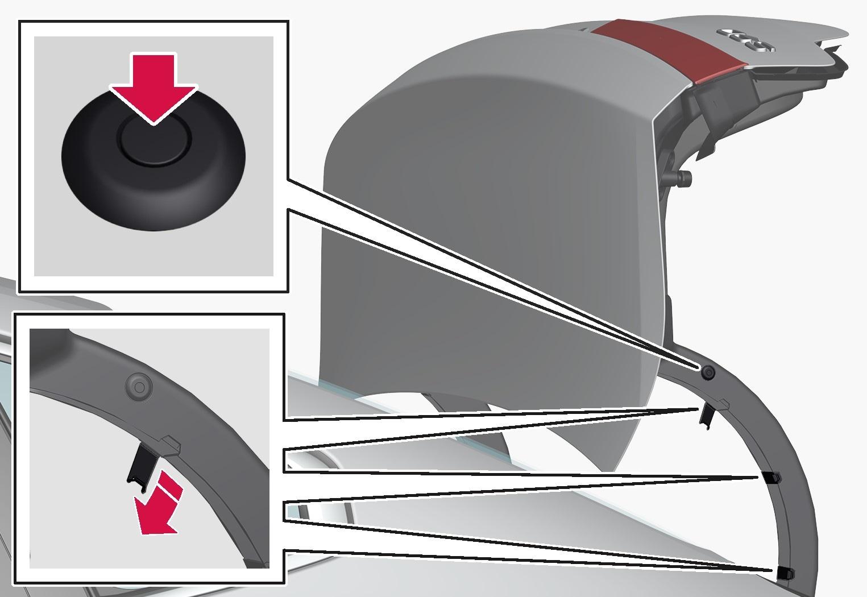 P5-1617-S90 Trunk lid, 1 clip+3 snap release