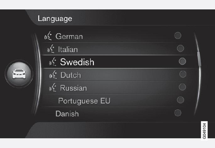 Language list.