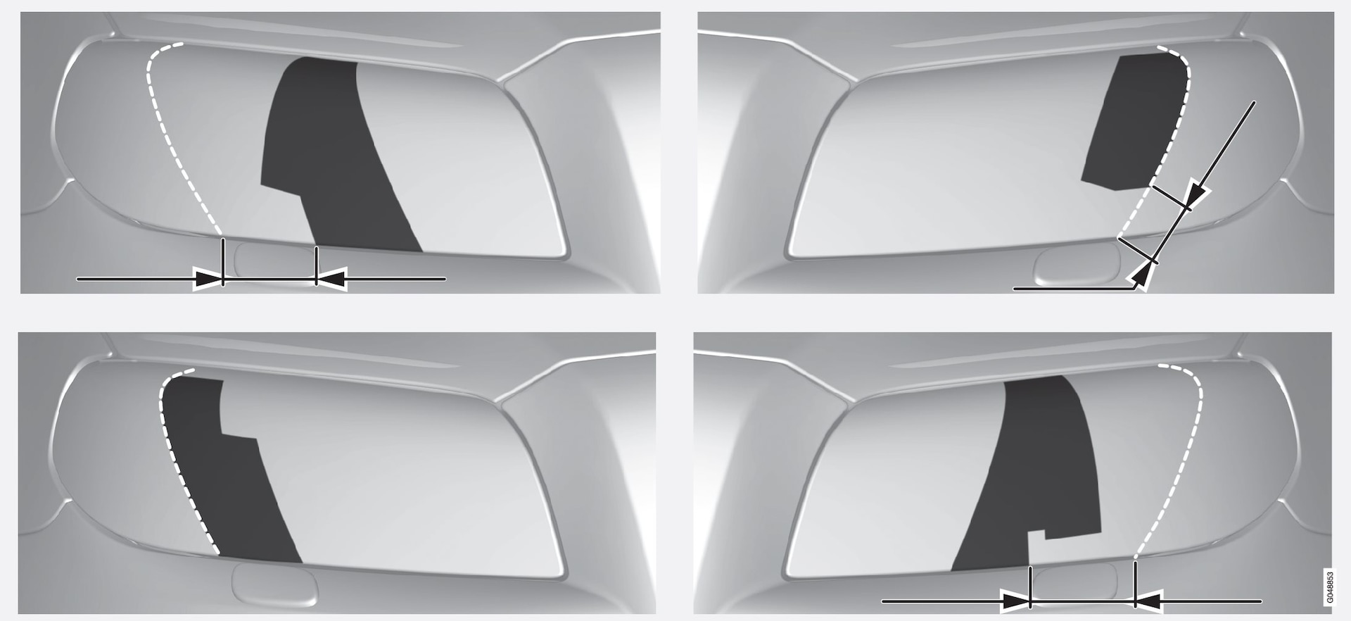 Upper row: left-hand drive cars, templates A and B. Lower row: right-hand drive cars, templates C and D.
