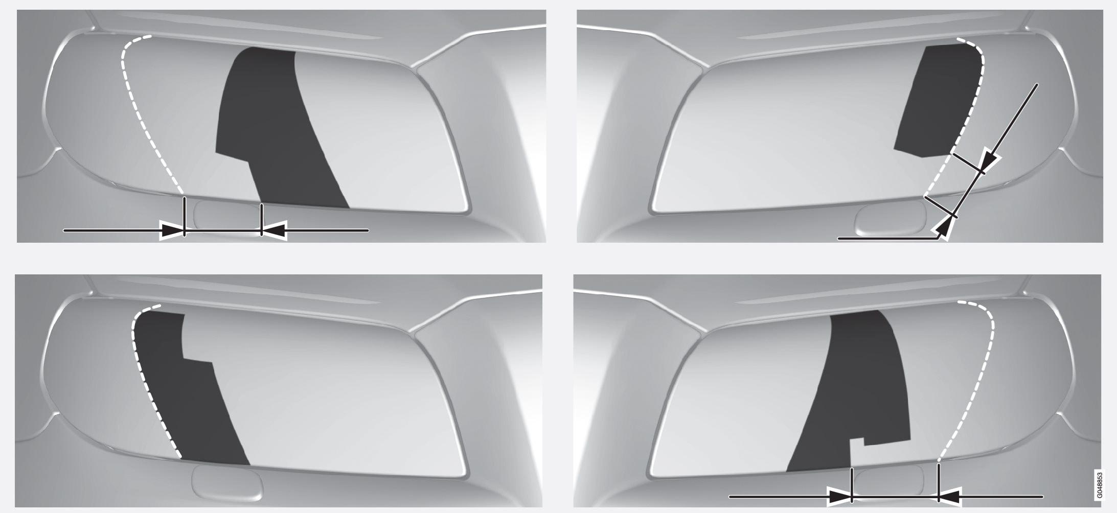 Linha superior: modelos com volante à esquerda, padrões A e B. Linha inferior: modelos com volante à direita, padrões C e D.