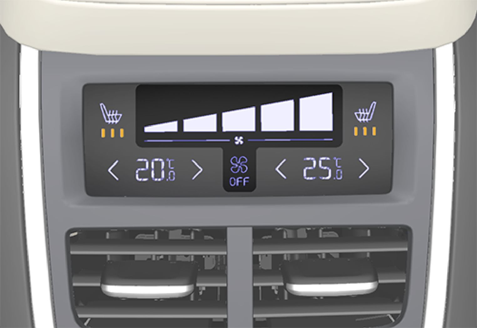 Fan controls on the climate panel at the rear of the tunnel console.