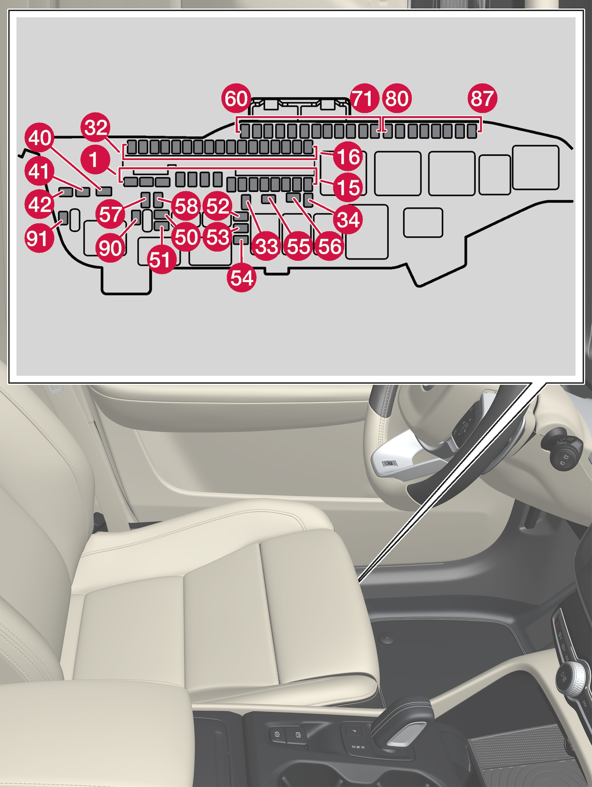 [DIAGRAM_3ER]  Fuses under the left-hand front seat | Storage and passenger compartment |  Loading, storage and passenger compartment | XC40 2019 Early | Volvo Support | Volvo Xc60 Interior Fuse Box |  | Volvo Cars