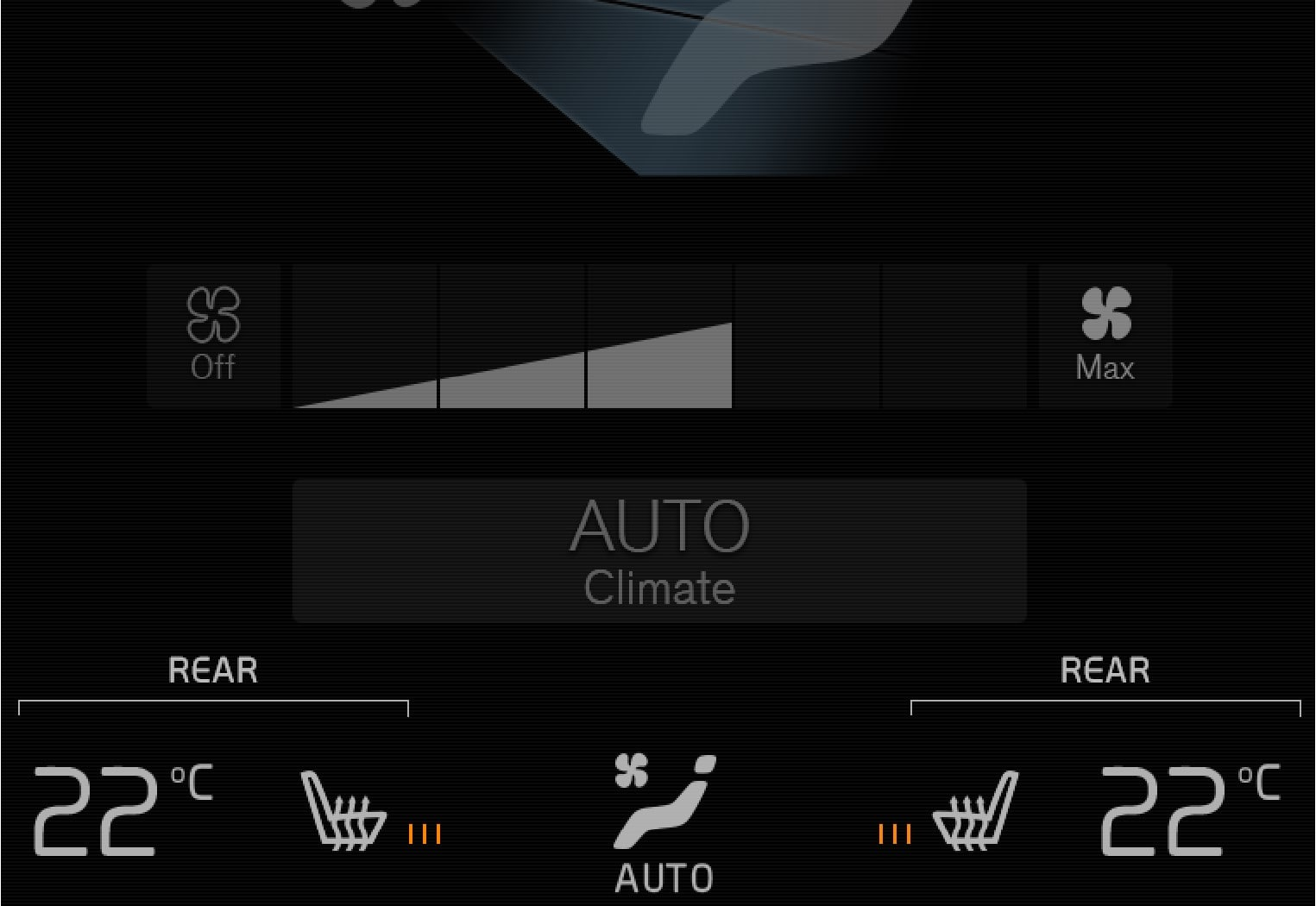 Buttons for heated seats in the group Rear climate in the climate view.