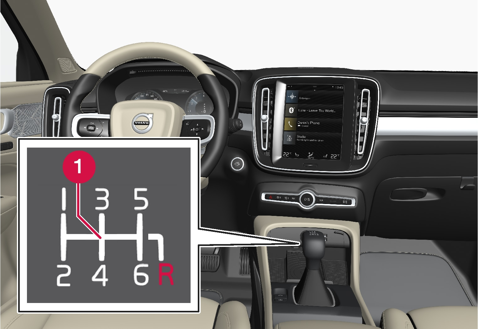 P6-1917-XC40-Overview manual gear shifter and gear shift pattern