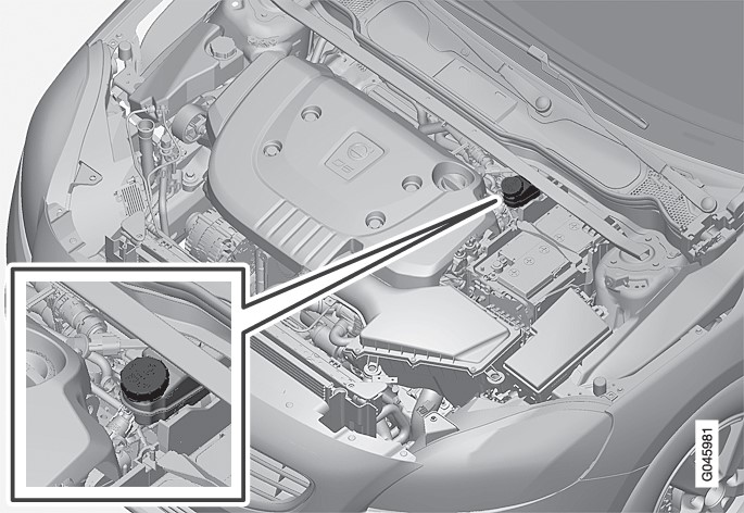 The fluid reservoir is located on the driver