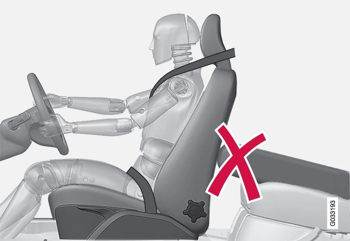 Do not place objects on the rear seat that may prevent the WHIPS system from functioning.