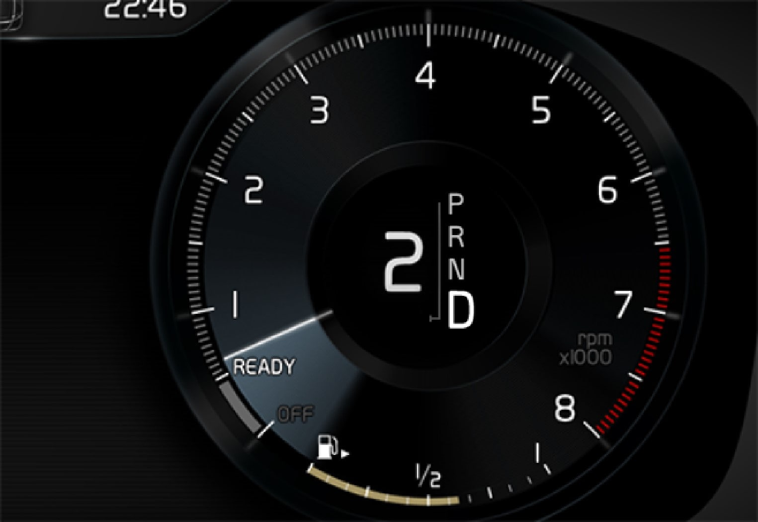 Driver display when changing gear with steering wheel paddles.