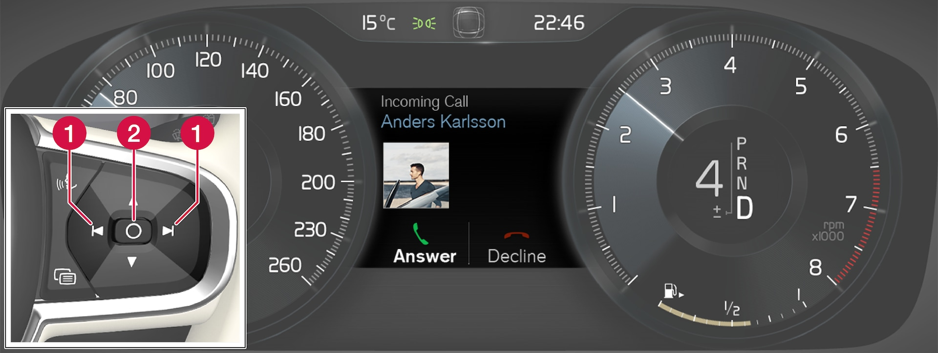 P5-1507-Incoming Call, message in driver display and right steering wheel switch