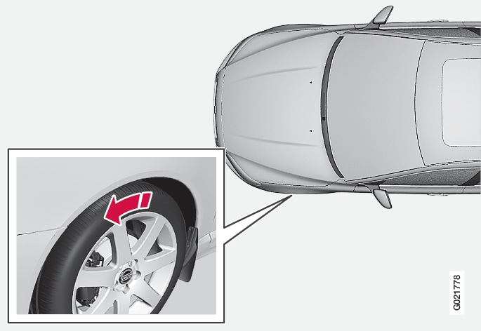 p3007 hjul och däck, rotationsriktning